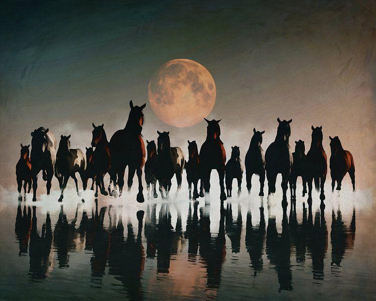 Kudde paarden in de avond aan zee van Jan Keteleer