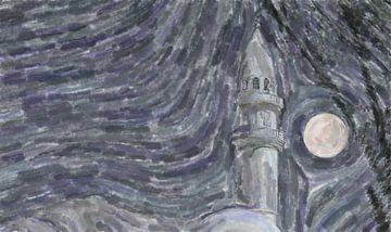 Lune derrière le minaret sur Frank Heinz