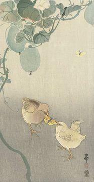 Zwei Küken kämpfen um Schmetterling von Ohara Koson