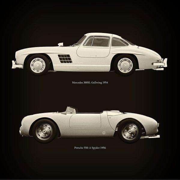 Mercedes 300SL Gullwing 1954 en Porsche 550-A Spyder 1956 van Jan Keteleer