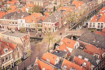 Voldersgracht in Delft, vom Turm Nieuwe Kerk von Sven Wildschut
