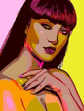Knappe naakte Aziatische vrouw in pop-art stijl van The Art Kroep