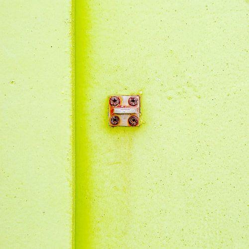 Abstract van pastel groen op een roestig paneel van Texel eXperience