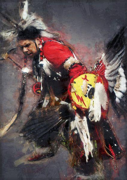 Ölgemälde-Porträt eines tanzenden Indianers von Bert Hooijer