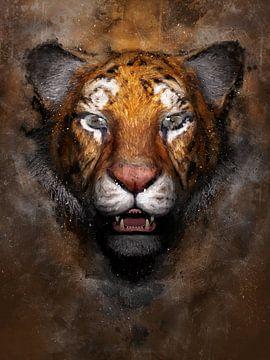 Gemaltes Porträt eines Tigers von Arjen Roos