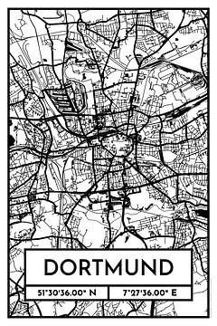 Dortmund – City Map Design Stadtplan Karte (Retro) von ViaMapia