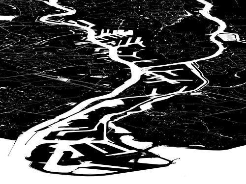 Havenkaart Rotterdam - zwartwit