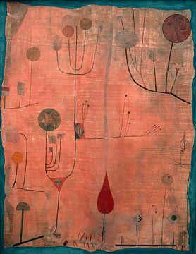 Paul Klee.Früchte auf rotem Grund