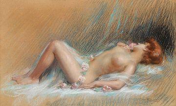Liggend naaktmodel, Delphin Enjolras (1857-1945) van Atelier Liesjes