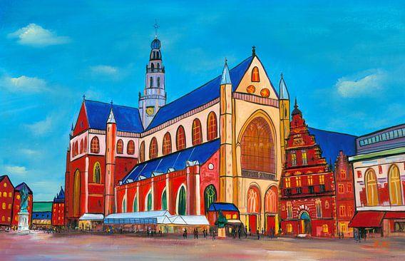 Schilderij Haarlem Grote Markt met Grote Kerk (St. Bavokerk) van Kunst Company