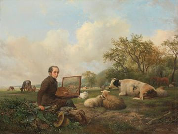 Der Künstler beim malen eienr Kuh, Hendrikus van de Sande Bakhuyzen