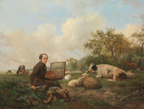 Schilderend in een weidelandschap met vee van Meesterlijcke Meesters