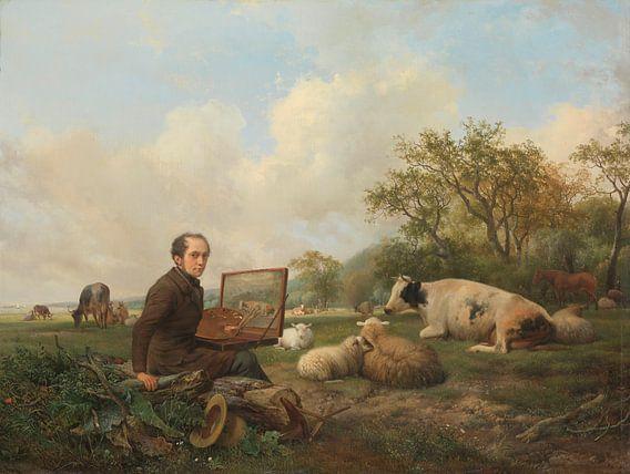 Schilderend in een weidelandschap met vee