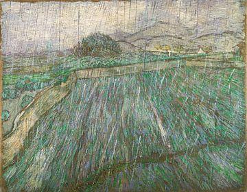 Weizenfeld im Regen, Vincent van Gogh von 1000 Schilderijen