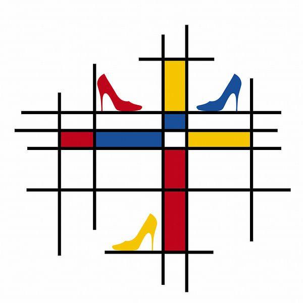 Piet Mondriaan schoenen van Marion Tenbergen