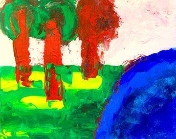 bomen bij het water van