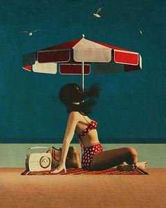 Retro-Stil Gemälde von einem Mädchen am Strand von Jan Keteleer