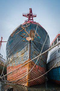 Boeg van oud houten schip van