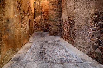 Middeleeuws steegje in Caceres Extremadura Spanje van Iris Heuer