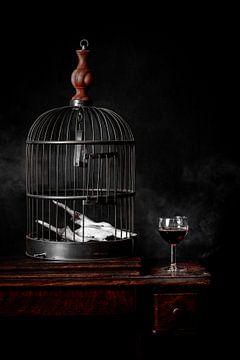Stillleben Wein und Käfig von Eddy 't Jong