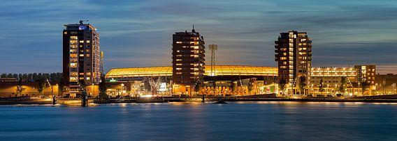 Net na zonsondergang panorama van De Kuip te Rotterdam.