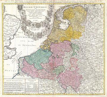 Kaart van Benelux 1747 van Atelier Liesjes