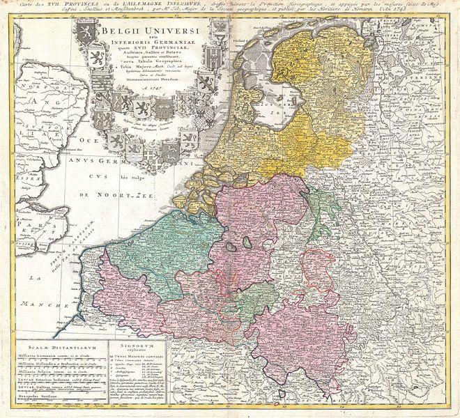 Carte du Benelux 1747 sur Atelier Liesjes