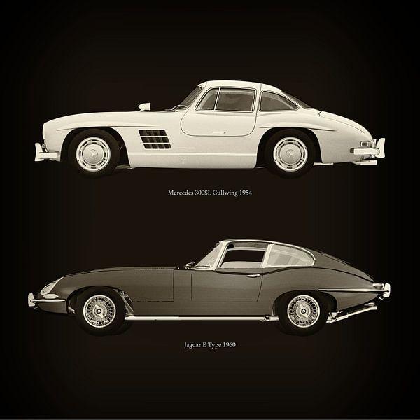 Mercedes 300SL Gullwing 1954 en Jaguar E Type 1960 van Jan Keteleer