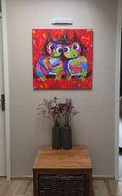 Photo de nos clients: Owls in love sur Vrolijk Schilderij, sur poster