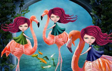 Flamingo Drieling - Mail je foto en jouw kids spelen de hoofdrol in dit werk! van Anouk Muller - Funqy Wall Art