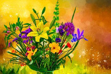 Voorjaarsboeket met een warme kleurrijke geschilderde achtergrond von ellenilli .