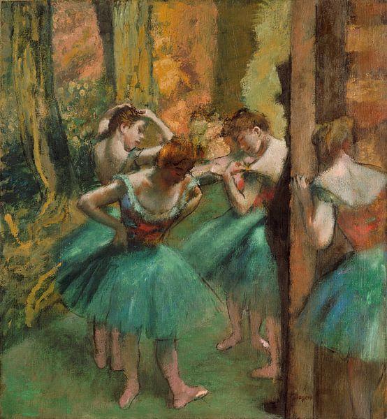 Tänzer, Rosa und Grün, Edgar Degas von Meesterlijcke Meesters