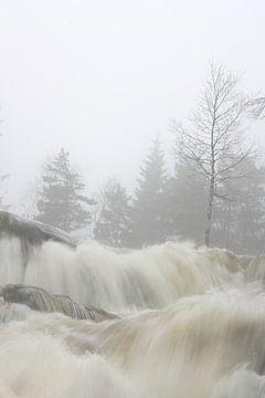 Wasserfall im dichten Nebel von Kim van der Lee