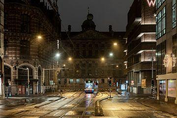Avondklok in Amsterdam - Raadhuisstraat met Paleis op de Dam