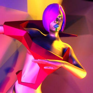 Futuristische virtuele 3d vrouw figuur in een digitale virtuele droom wereld van Pat Bloom - Moderne 3d en abstracte kubistiche kunst