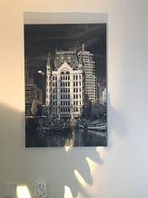 Klantfoto: Witte Huis Rotterdam zwart / wit van Anton de Zeeuw, op canvas