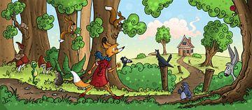 Waldweg mit Fuchs von Jesse Boom