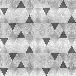 GRAFISCH PATROON Mousserende driehoeken | zilver