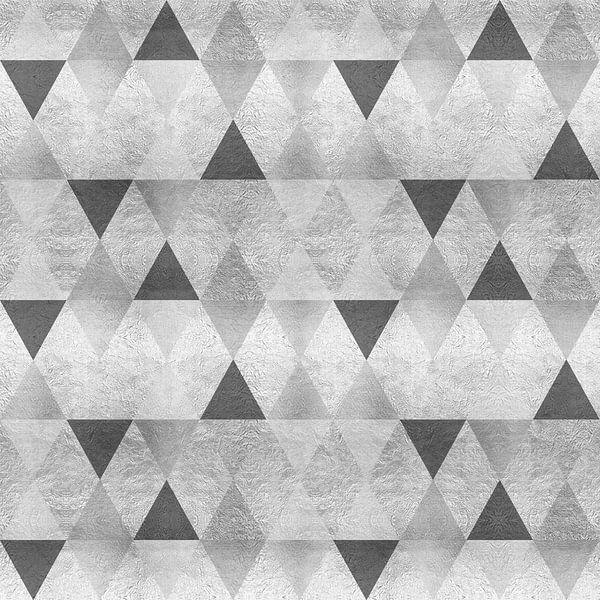 GRAFISCH PATROON Mousserende driehoeken | zilver van Melanie Viola