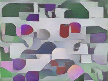 Abstract in groen rood grijs van Maurice Dawson