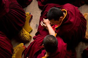 Twee jonge monniken tijdens de ochtend meditatie van Yona Photo