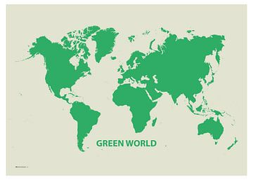 Dekorative Weltkarte Grüne Welt von Emma Kersbergen