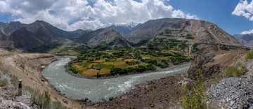 Panorama Pyandz Rivier Tajikistan van Daan Kloeg