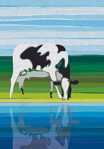 Koe met spiegeling in water