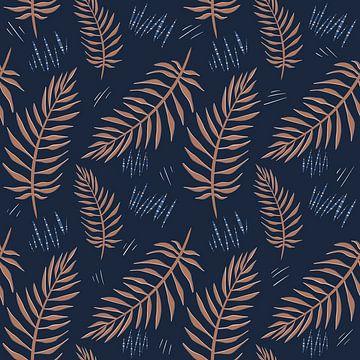 Tropisch regenwoud - Jungle bladeren blauw koper van Studio Hinte