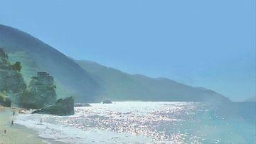 De Zon op de Cinque Terre bij Monterosso al Mare - Italiaanse Riviera - Italië - Schilderij