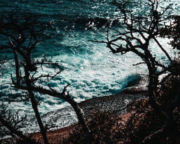 Dramatische golven bij een klif met bomen van Milad Hussin