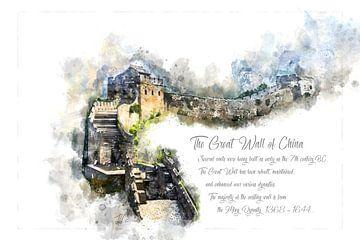 Grote Muur van China, aquarel, China van Theodor Decker