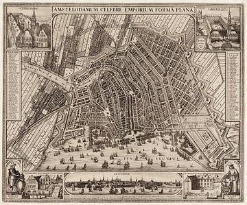 Amsterdam, gedetailleerde oude stadsplattegrond en index 1643 van Atelier Liesjes