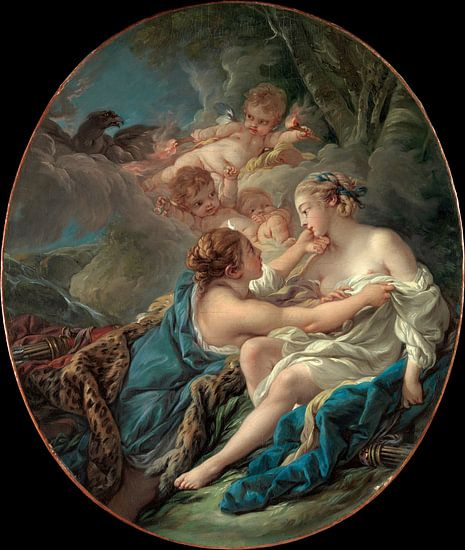 François Boucher - Jupiter, in de gedaante van Diana
